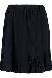 Michael Michael Kors Pintucked Chiffon Mini Skirt Blue