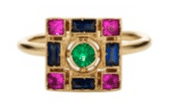 Sabine Getty 18K White Gold Set With Emeralds Blue And Pink Sapphires Ring Multi