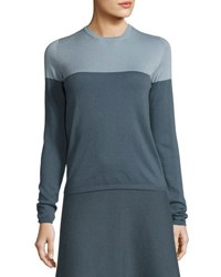 Iris Von Arnim Colorblock Crewneck Cashmere Sweater Blue Gray Blue Gray