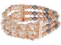 Guess Three Row 1 2 Bead Stretch And 1 2 Woven Chain Stretch Bracelet Rose Gold Light Grey White Bracelet