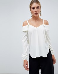 Ax Paris Cold Shoulder Blouse Cream
