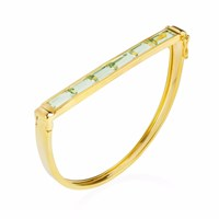 Neola Equilibrium Gold Bangle With Green Amethyst