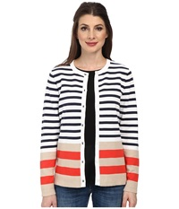 Pendleton Placed Stripe Cardigan White Indigo Multi Women's Sweater