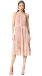 Whistles Lillan Pleated Lace Mix Dress Pale Pink