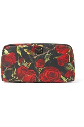 Dolce And Gabbana Floral Print Shell Cosmestics Case Black