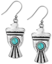 Lucky Brand Silver Tone Stone Bird Earrings