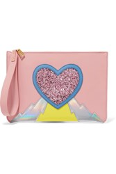 Sophie Hulme Talbot Paneled Glitter Trimmed Metallic Leather Pouch Pink