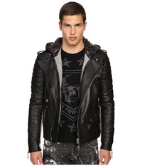 Philipp Plein Leather Hey You Jacket Black