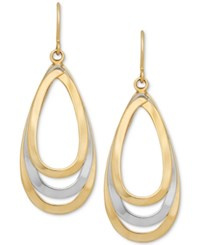 Macy's Two Tone Teardrop Openwork Drop Earrings In 14K Gold And White Gold Two Tone