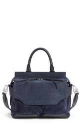 Rag And Bone Pilot Calfskin Leather Satchel Blue Navy Suede