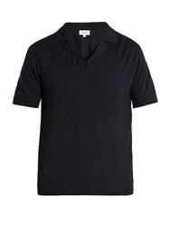 Brioni Short Sleeved Wool Polo Shirt Navy