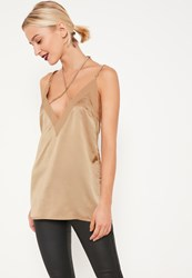 Missguided Nude Bar Front Contrast Neckline Cami Top Clay