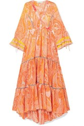 Etro Tiered Printed Silk Crepe De Chine Gown Orange