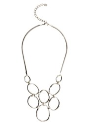 Mint Velvet Silver Circle Statement Necklace