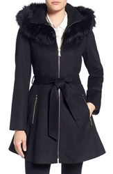 Laundry By Shelli Segal Women's Shelly Faux Fur Trim Wool Blend Fit And Flare Coat Navy