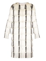 Marco De Vincenzo Collarless Striped Fringed Coat