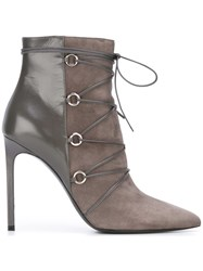 Saint Laurent Pointed Ankle Boots Grey