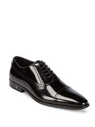 Versace Cap Toe Leather Oxford Shoes Dark Brown