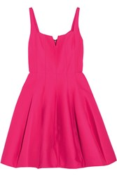 Halston Heritage Pleated Cotton And Silk Blend Mini Dress Pink