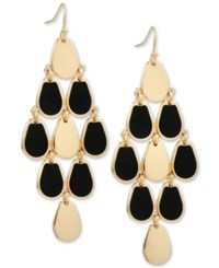Guess Gold Tone Jet Stone Chandelier Earrings