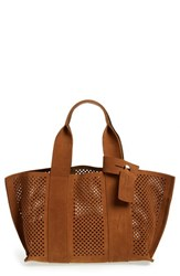 Pedro Garcia 'Castoro' Perforated Suede Tote Brown Tobacco
