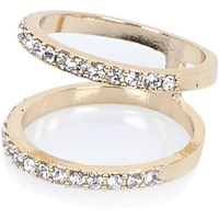 River Island Womens Gold Tone Gem Knuckle Duster Rings