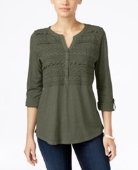 Styleandco. Style Co. Crochet Detail 3 4 Sleeve Top Only At Macy's Olive Sprig
