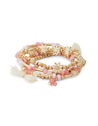 Design Lab Lord And Taylor Layered Beaded Stretch Bracelets Pink