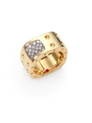 Roberto Coin Pois Moi Diamond And 18K Yellow Gold Two Row Square Ring Yellow Gold Diamond