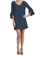 Paper Crown Easton Solid Shift Dress Navy