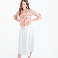 J.Crew Petite Midi Skirt In Cotton Clip Dot