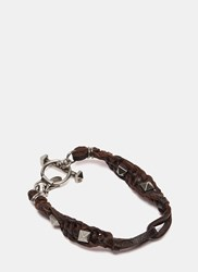 Valentino Pyramid Studded Leather Bracelet Brown
