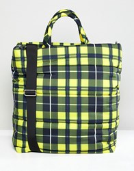 Weekday Padded Check Tote Bag Yellow And Black Ch Multi