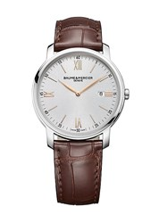 Baume And Mercier Classima 10144 Stainless Steel Alligator Strap Watch Brown