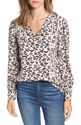 Hinge Lace Stripe V Neck Blouse Ivory Ferns And Flowers