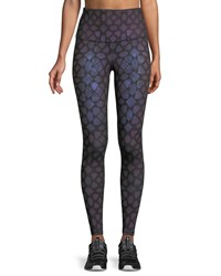 The North Face High Rise Contoured Tech Performance Tights Purple Pattern