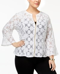 Inc International Concepts Plus Size Lace Peplum Jacket Only At Macy's Bright White