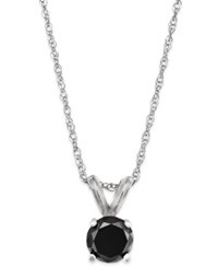 Macy's Black Diamond Round Pendant Necklace In 10K White Gold 1 3 Ct. T.W.