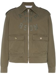 J.W.Anderson Jw Anderson Logo Printed Harrington Jacket Green