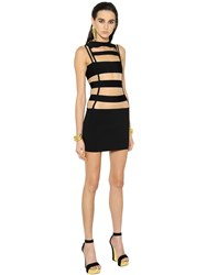 Balmain Cutout Tulle And Milano Jersey Mini Dress
