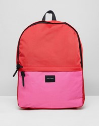 Asos Design Backpack In Pink And Red Colour Block