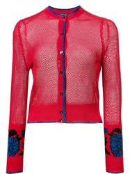 Sophie Theallet Garden Jacquard Cropped Cardigan Red