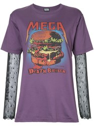 Hysteric Glamour Jacquard Sleeve Burger Print T Shirt Pink And Purple