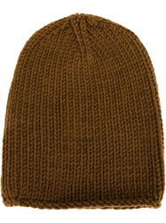 Isabel Benenato Ribbed Knit Beanie Brown