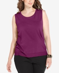 August Silk Plus Size Sleeveless Shell Purple Orchard