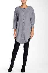 Dee Elle Button Down Flannel Tunic Gray