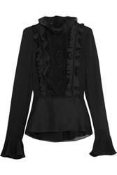 Giambattista Valli Ruffled Silk Crepe De Chine Silk Organza And Macrame Lace Blouse Black