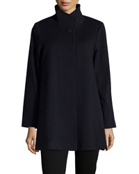 Fleurette Stand Collar Wool Coat Midnight
