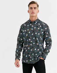 Ted Baker Shirt With Floral Monkey Print In Brown
