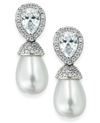 Arabella Bridal Cultured Freshwater Pearl 7Mm And Swarovski Zirconia 2 1 4 Ct. T.W. Drop Earrings In Sterling Silver White